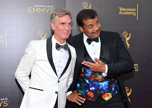 "<div class=""meta image-caption""><div class=""origin-logo origin-image none""><span>none</span></div><span class=""caption-text"">Bill Nye, left, and Neil deGrasse Tyson arrive at night two of the Television Academy's 2016 Creative Arts Emmy Awards at the Microsoft Theater on Sunday, Sept. 11, 2016. (Vince Bucci/Invision for the Television Academy/AP Images)</span></div>"