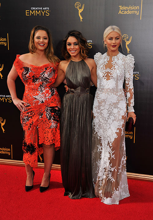 "<div class=""meta image-caption""><div class=""origin-logo origin-image none""><span>none</span></div><span class=""caption-text"">Kether Donohue, from left, Vanessa Hudgens, and Julianne Hough arrive at night two of the Television Academy's 2016 Creative Arts Emmy Awards at the Microsoft Theater on Sunday, Se (Photo by Vince Bucci/Invision for the Television Academy/AP Images)</span></div>"
