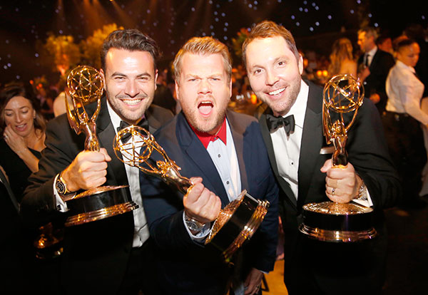 "<div class=""meta image-caption""><div class=""origin-logo origin-image none""><span>none</span></div><span class=""caption-text"">Ben Winston, from left, James Corden, and Robbie Crabbe pose with their awards for outstanding variety special for ""The Late Late Show Carpool Karaoke Prime Time Special."" (Colin Young-Wolff/Invision for the Television Academy/AP Images)</span></div>"