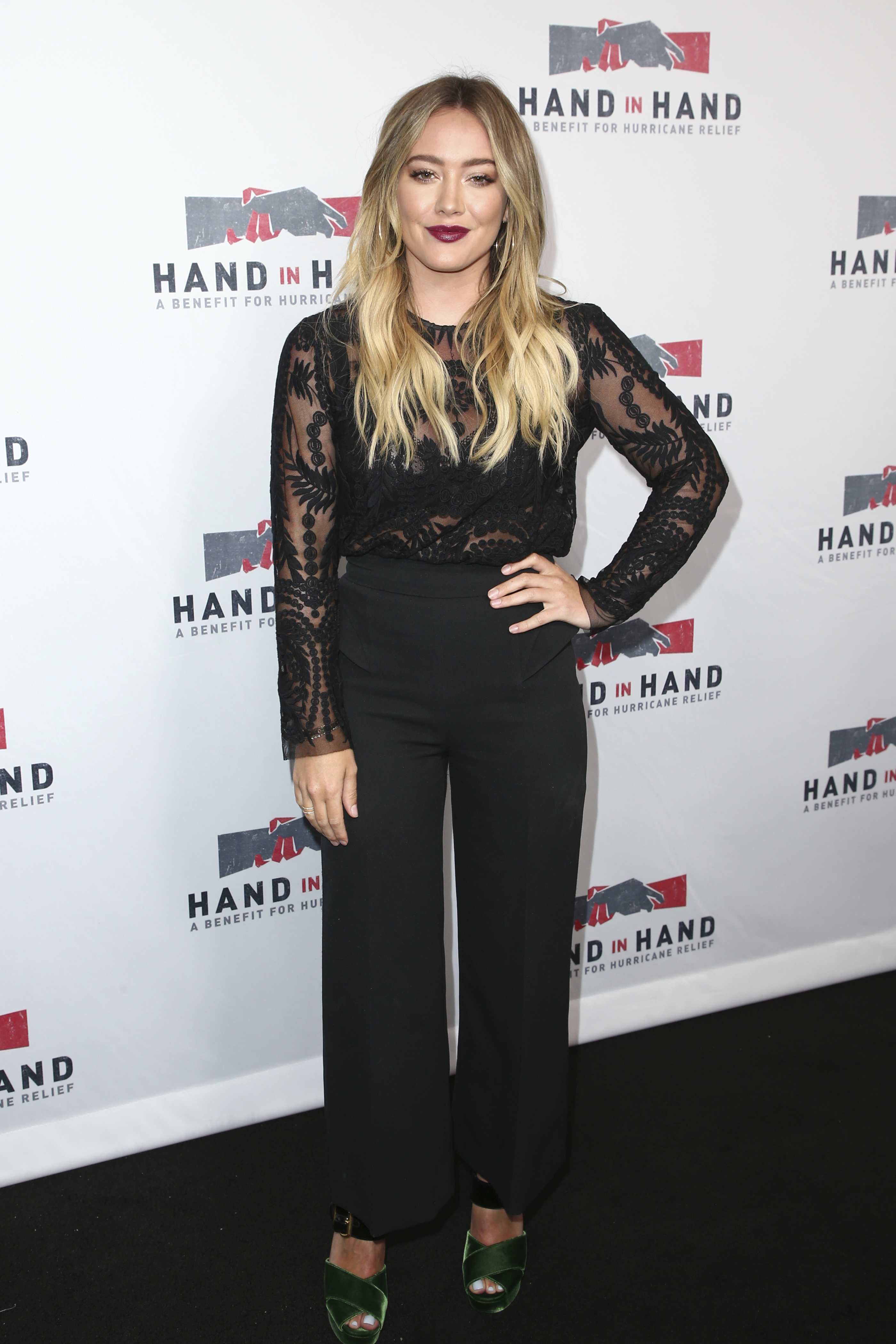 "<div class=""meta image-caption""><div class=""origin-logo origin-image none""><span>none</span></div><span class=""caption-text"">Hilary Duff attends the Hand in Hand: A Benefit for Hurricane Harvey Relief held at Universal Studios Back Lot on Tuesday, Sept. 12, 2017 in Universal City, Calif. (John Salangsang/Invision/AP)</span></div>"