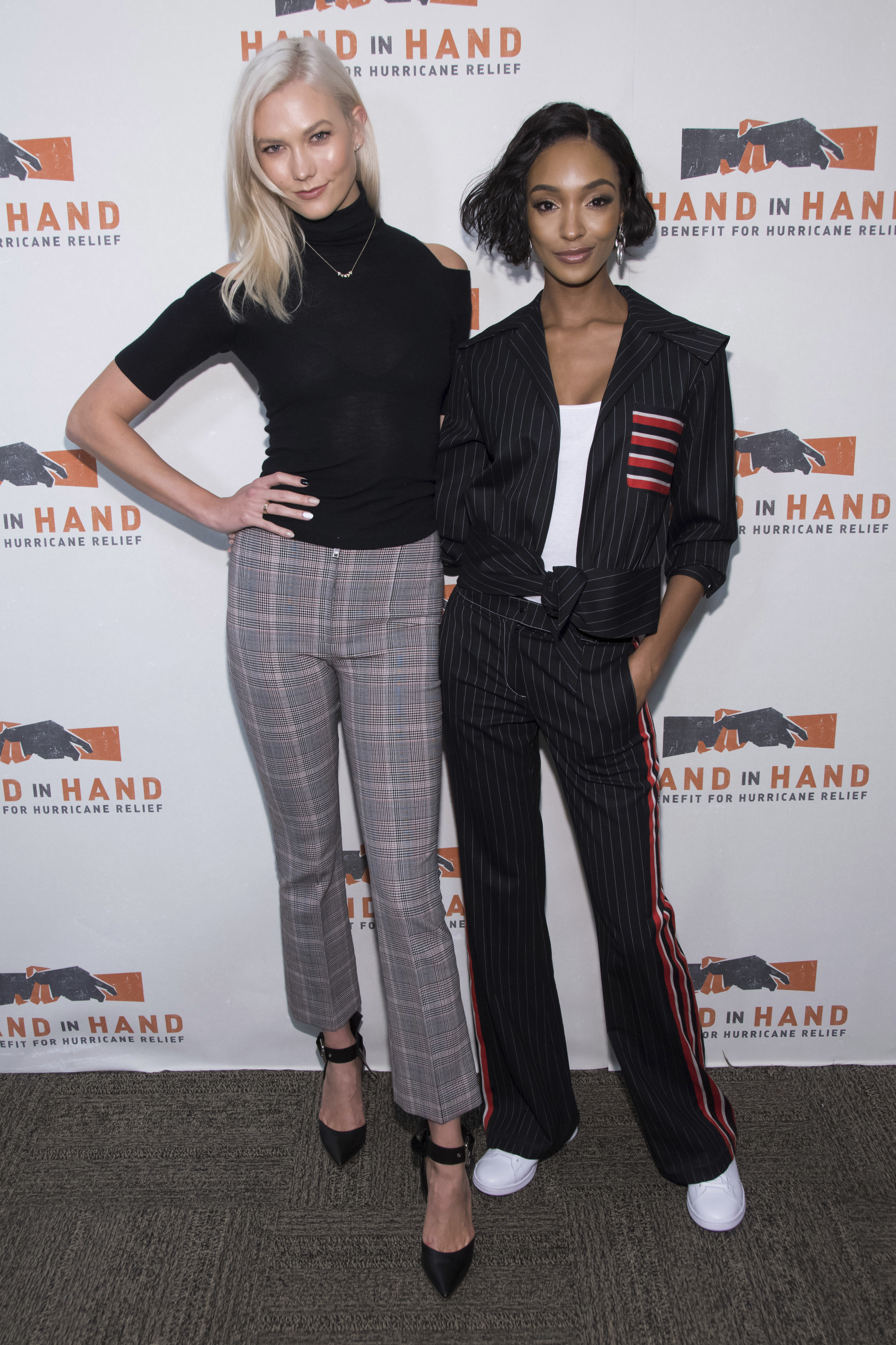 "<div class=""meta image-caption""><div class=""origin-logo origin-image none""><span>none</span></div><span class=""caption-text"">Karlie Kloss, left, and Jourdan Dunn attend Hand in Hand: A Benefit for Hurricane Harvey Relief at ABC Studios on Tuesday Sept. 12, 2017 in New York. (Charles Sykes/Invision/AP)</span></div>"