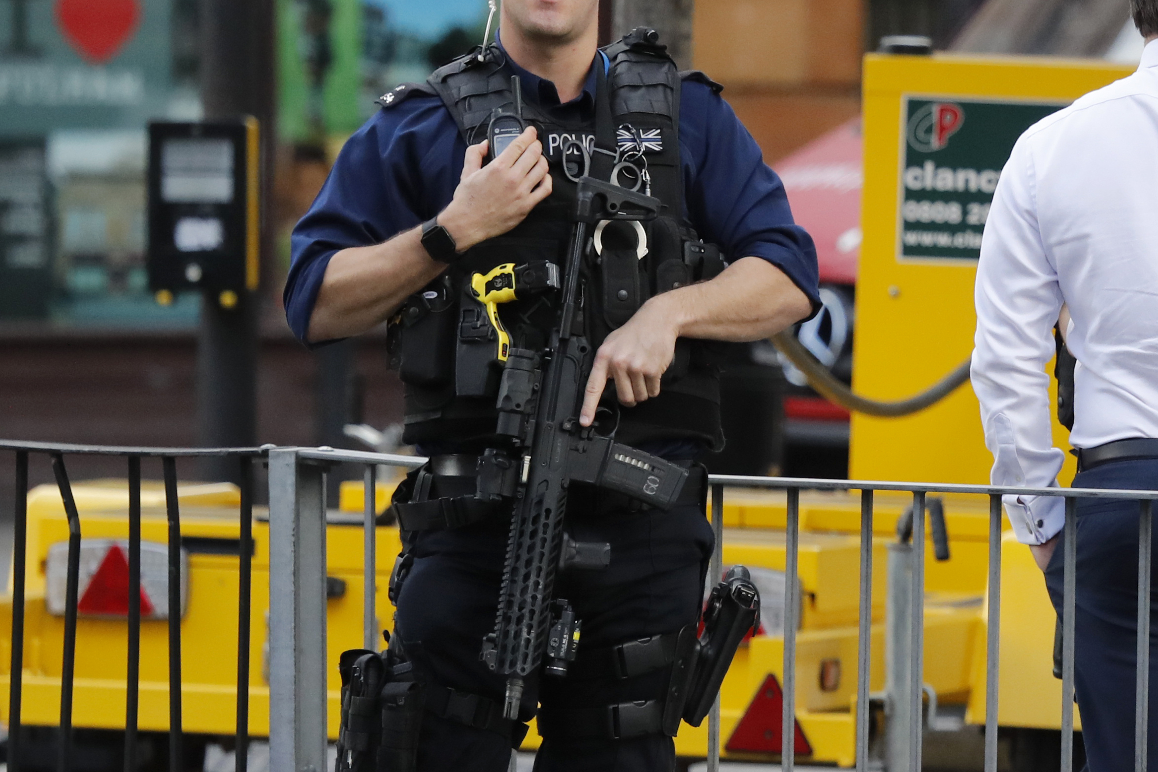 "<div class=""meta image-caption""><div class=""origin-logo origin-image none""><span>none</span></div><span class=""caption-text"">An armed police officer stands nearby after an incident on a tube train at Parsons Green subway station in London, Friday, Sept. 15, 2017. (Frank Augstein/AP Photo)</span></div>"