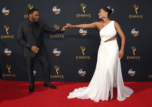 <div class='meta'><div class='origin-logo' data-origin='AP'></div><span class='caption-text' data-credit='Photo by Jordan Strauss/Invision/AP'>Anthony Anderson, left, and Tracee Ellis Ross arrive at the 68th Primetime Emmy Awards on Sunday, Sept. 18, 2016, at the Microsoft Theater in Los Angeles.</span></div>