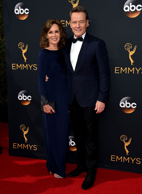 <div class='meta'><div class='origin-logo' data-origin='AP'></div><span class='caption-text' data-credit='Photo by Jordan Strauss/Invision/AP'>Robin Dearden, left, and Bryan Cranston arrive at the 68th Primetime Emmy Awards on Sunday, Sept. 18, 2016, at the Microsoft Theater in Los Angeles.</span></div>