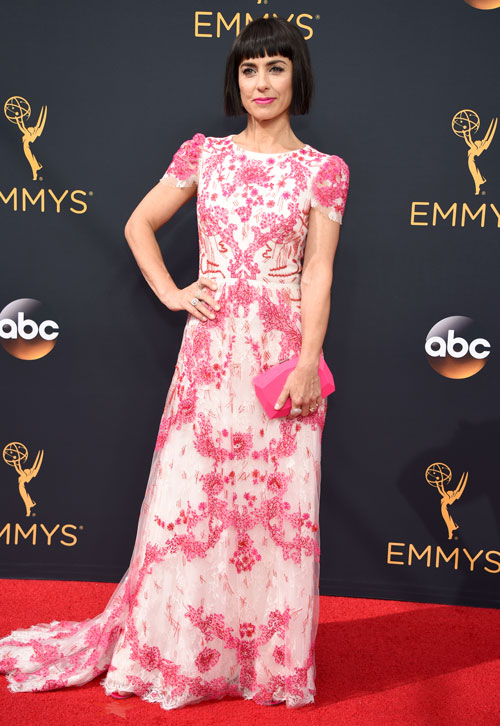 <div class='meta'><div class='origin-logo' data-origin='AP'></div><span class='caption-text' data-credit='Photo by Phil McCarten/Invision for the Television Academy/AP Images'>Constance Zimmer arrives at the 68th Primetime Emmy Awards on Sunday, Sept. 18, 2016, at the Microsoft Theater in Los Angeles.</span></div>