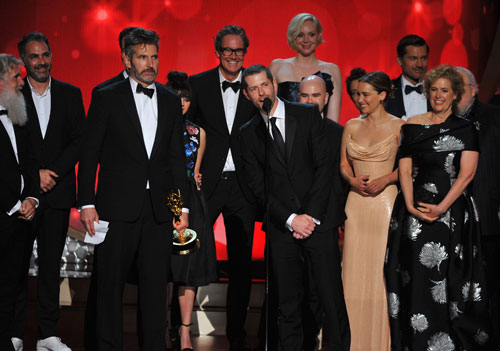 "<div class='meta'><div class='origin-logo' data-origin='AP'></div><span class='caption-text' data-credit='Photo by Vince Bucci/Invision for the Television Academy/AP Images'>D.B Weiss, along with the cast and crew from ""Game of Thrones"" accept the award for outstanding drama series at the 68th Primetime Emmy Awards on Sunday, Sept. 18, 2016.</span></div>"