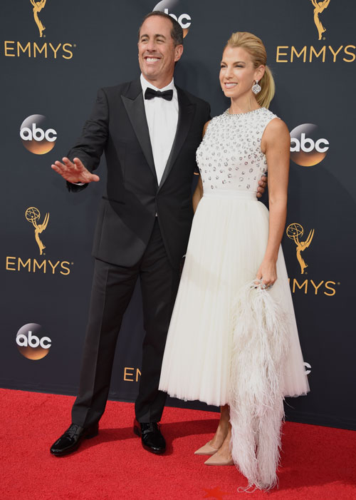 <div class='meta'><div class='origin-logo' data-origin='AP'></div><span class='caption-text' data-credit='Photo by Phil McCarten/Invision for the Television Academy/AP Images'>Jerry Seinfeld, left, and Jessica Seinfeld arrive at the 68th Primetime Emmy Awards on Sunday, Sept. 18, 2016, at the Microsoft Theater in Los Angeles.</span></div>