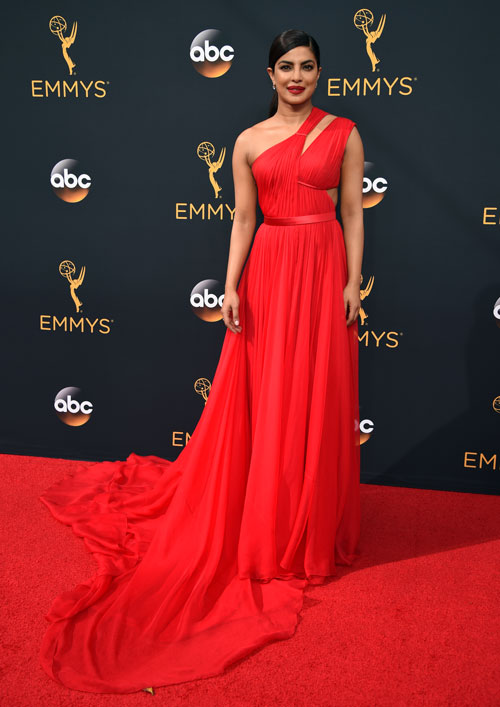 <div class='meta'><div class='origin-logo' data-origin='AP'></div><span class='caption-text' data-credit='Photo by Phil McCarten/Invision for the Television Academy/AP Images'>Priyanka Chopra arrives at the 68th Primetime Emmy Awards on Sunday, Sept. 18, 2016, at the Microsoft Theater in Los Angeles.</span></div>