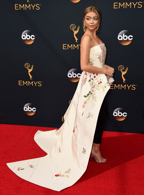 <div class='meta'><div class='origin-logo' data-origin='AP'></div><span class='caption-text' data-credit='Photo by Jordan Strauss/Invision/AP'>Sarah Hyland arrives at the 68th Primetime Emmy Awards at the Microsoft Theater on Sunday, Sept. 18, 2016, in Los Angeles.</span></div>