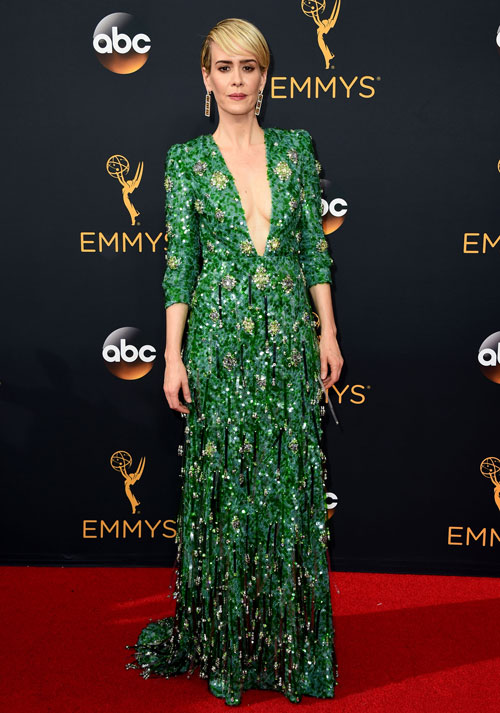 <div class='meta'><div class='origin-logo' data-origin='AP'></div><span class='caption-text' data-credit='Photo by Jordan Strauss/Invision/AP'>Sarah Paulson arrives at the 68th Primetime Emmy Awards on Sunday, Sept. 18, 2016, at the Microsoft Theater in Los Angeles.</span></div>