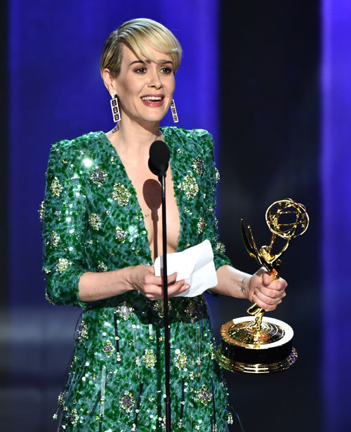 "<div class='meta'><div class='origin-logo' data-origin='AP'></div><span class='caption-text' data-credit='Photo by Vince Bucci/Invision for the Television Academy/AP Images'>Sarah Paulson accepts the award for outstanding lead actress in a limited series or a movie for ""The People v. O.J. Simpson: American Crime Story"" at the 68th Emmy Awards.</span></div>"