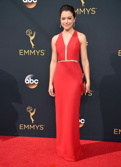 <div class='meta'><div class='origin-logo' data-origin='AP'></div><span class='caption-text' data-credit='Photo by Phil McCarten/Invision for the Television Academy/AP Images'>Tatiana Maslany arrives at the 68th Primetime Emmy Awards on Sunday, Sept. 18, 2016, at the Microsoft Theater in Los Angeles.</span></div>