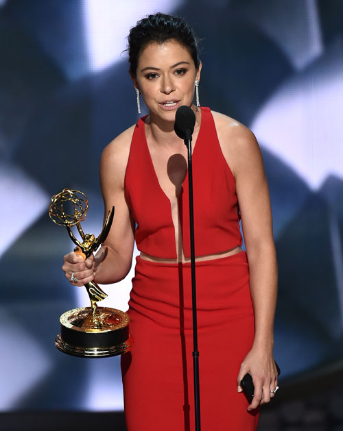 "<div class='meta'><div class='origin-logo' data-origin='AP'></div><span class='caption-text' data-credit='Photo by Vince Bucci/Invision for the Television Academy/AP Images'>Tatiana Maslany accepts the award for outstanding lead actress in a drama series for ""Orphan Black"" at the 68th Primetime Emmy Awards on Sunday, Sept. 18, 2016.</span></div>"