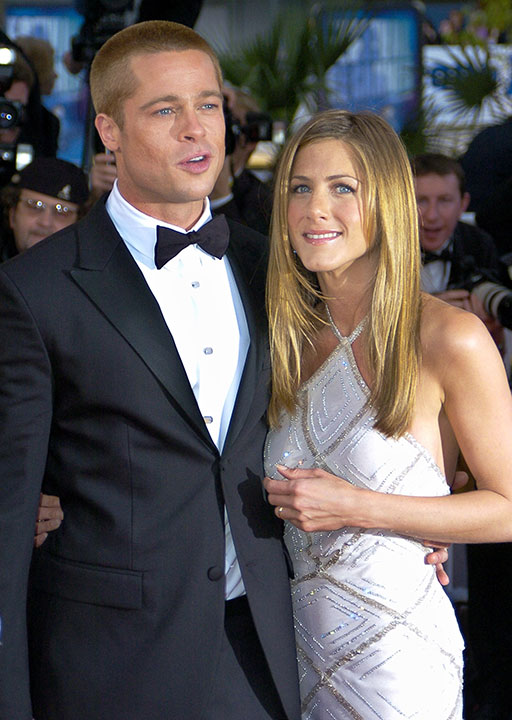 <div class='meta'><div class='origin-logo' data-origin='none'></div><span class='caption-text' data-credit='Patrick Gardin/AP Photo'>Brad Pitt and Jennifer Aniston</span></div>