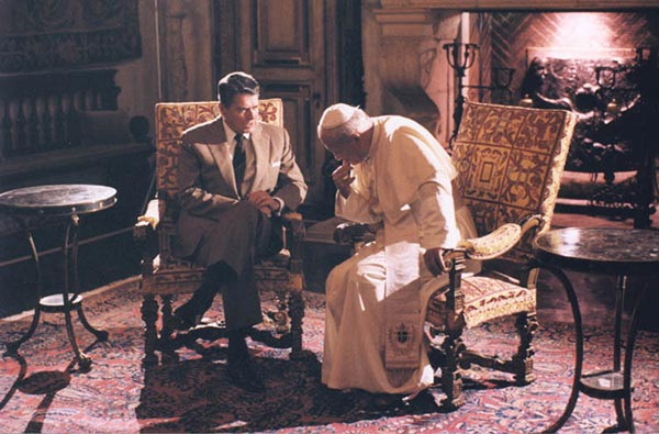 "<div class=""meta image-caption""><div class=""origin-logo origin-image wpvi""><span>WPVI</span></div><span class=""caption-text"">President Reagan talking to Pope John Paul II at the Vizcaya museum in Miami, Florida (9/10/87) </span></div>"