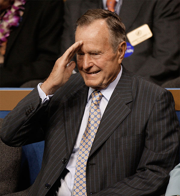 "<div class=""meta image-caption""><div class=""origin-logo origin-image ""><span></span></div><span class=""caption-text"">President George H. W. Bush saluting the crowd at the Republican National Convention in September 2008. (Paul Sancya / AP)</span></div>"