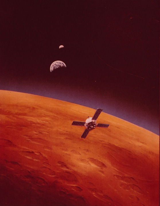 <div class='meta'><div class='origin-logo' data-origin='none'></div><span class='caption-text' data-credit='Photo/AP'>The Mariner 9 is depicted in this artist's concept going into orbit around Mars on Nov. 13, 1971.</span></div>