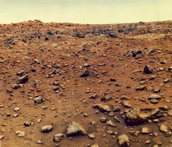 <div class='meta'><div class='origin-logo' data-origin='none'></div><span class='caption-text' data-credit='Getty'>This is the first color photograph of the surface of the planet Mars, taken by the Viking 1 probe in 1976.</span></div>