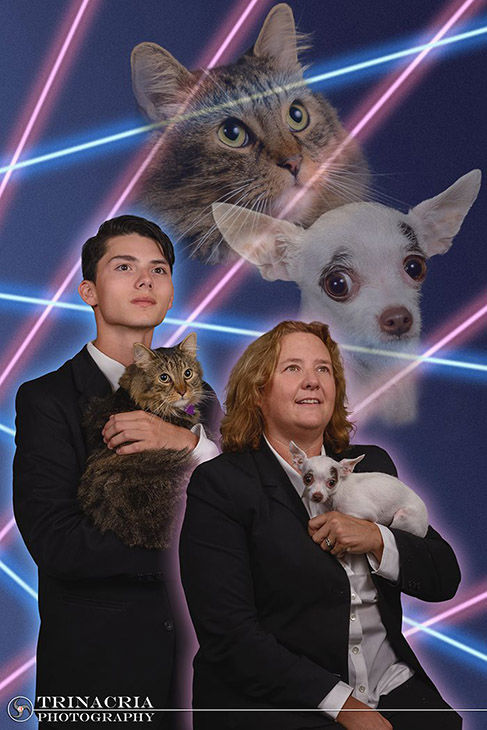 "<div class=""meta image-caption""><div class=""origin-logo origin-image ""><span></span></div><span class=""caption-text"">Draven Rodriquez posed for a retro-style photo shoot with his cat, Mr. Bigglesworth as well as Principal Diane Wilkinson and her Chihuahua, Vivian. (Vincent Giordano/Trinacria Photography)</span></div>"