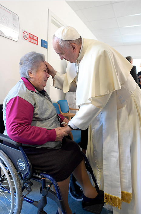 "<div class=""meta image-caption""><div class=""origin-logo origin-image ap""><span>AP</span></div><span class=""caption-text"">Pope Francis meets patients in an old people's home in Borbona, near Rieti, central Italy, Tuesday, Oct. 4, 2016. (L'Osservatore Romano/ Pool Photo via AP)</span></div>"