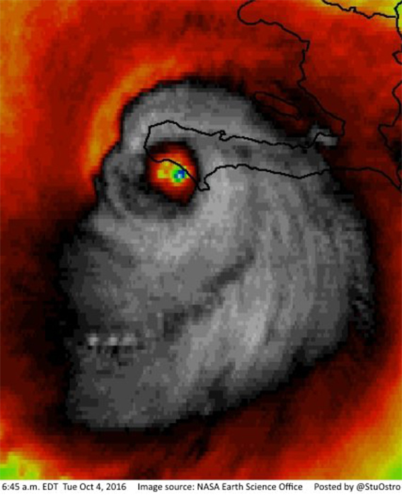 "<div class=""meta image-caption""><div class=""origin-logo origin-image none""><span>none</span></div><span class=""caption-text"">An infrared satellite image showing Hurricane Matthew passing over Haiti on October 4, in which the hurricane looks like a giant skull. (Stu Ostro/NASA Earth Science Office via Storyful)</span></div>"