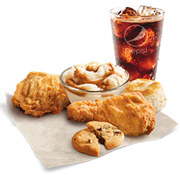"<div class=""meta image-caption""><div class=""origin-logo origin-image ""><span></span></div><span class=""caption-text"">KFC: The 5 Buck Fill-Ups menu offers a lot of food for little cash. One offer includes a drumstick, thigh, biscuit, medium drink, and cookie for just $5. (KFC)</span></div>"