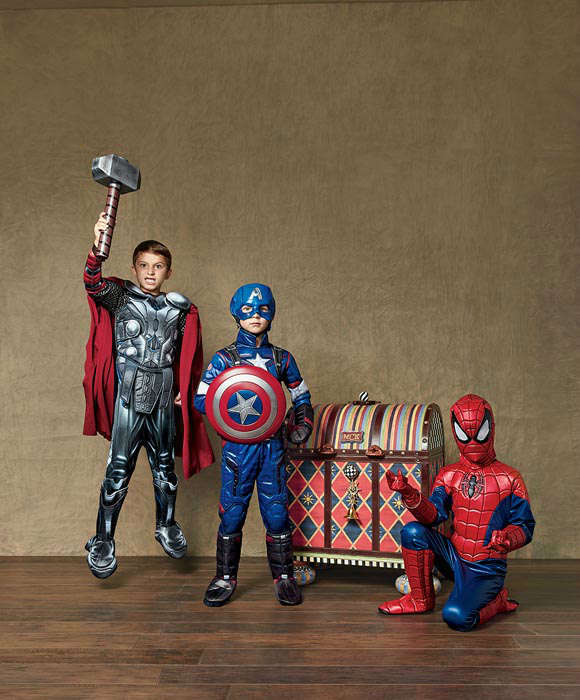 """<div class=""""meta image-caption""""><div class=""""origin-logo origin-image none""""><span>none</span></div><span class=""""caption-text"""">The boy's version of the MacKenzie-Childs trunk includes five Marvel Super Heroes costumes designed by Chasing Fireflies Ultimate Collection costumes. (Photo/Neiman Marcus)</span></div>"""
