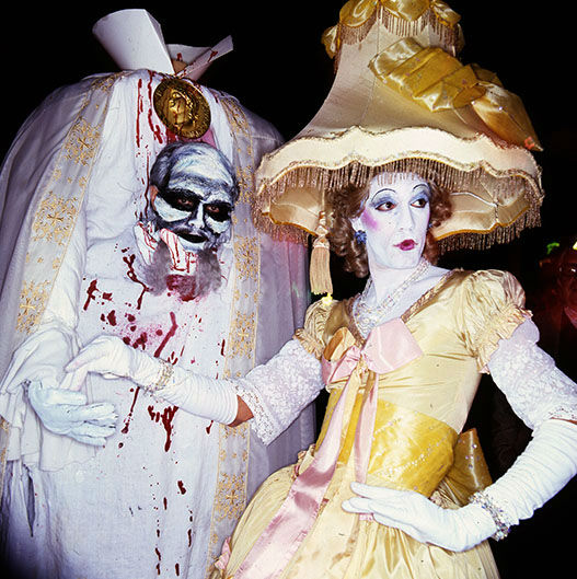 "<div class=""meta image-caption""><div class=""origin-logo origin-image none""><span>none</span></div><span class=""caption-text"">Night-time view of participants in elaborate costumes during the annual Halloween Parade, New York, New York, late 1970s or early 1980s.  (Anthony Barboza/Getty)</span></div>"