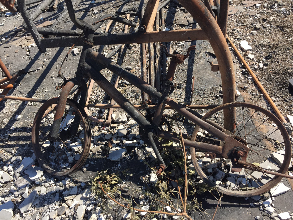 <div class='meta'><div class='origin-logo' data-origin='none'></div><span class='caption-text' data-credit='Tiffany Wilson/KGO-TV'>&#34;A five year old's bike in Coffey Park.&#34;</span></div>