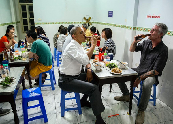 <div class='meta'><div class='origin-logo' data-origin='none'></div><span class='caption-text' data-credit='Pete Souza, Chief Official White House Photographer'>President Obama and food personality Anthony Bourdain enjoying beers in Hanoi, Vietnam in 2016.</span></div>