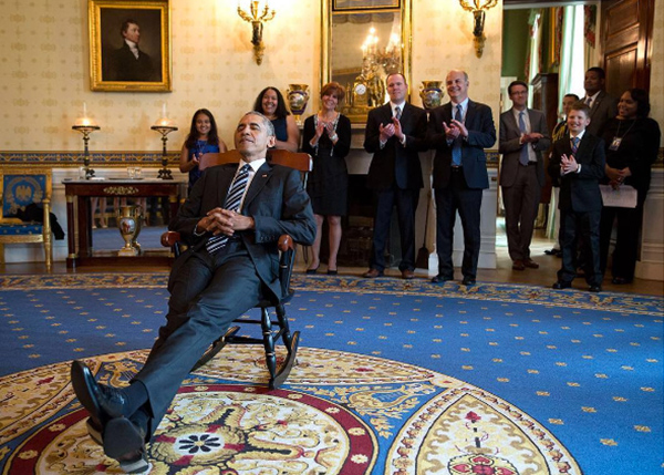 <div class='meta'><div class='origin-logo' data-origin='none'></div><span class='caption-text' data-credit='Pete Souza, Chief Official White House Photographer'>President Obama lounges in a rocking chair, given to him by the UConn women's basketball team after their 2016 NCAA Championship.</span></div>
