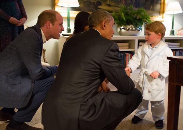 <div class='meta'><div class='origin-logo' data-origin='none'></div><span class='caption-text' data-credit='Pete Souza, Chief Official White House Photographer'>President Obama kneels down alongside Prince William to greet the British royal's son Prince George in 2016.</span></div>