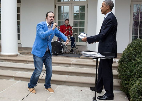 "<div class=""meta image-caption""><div class=""origin-logo origin-image none""><span>none</span></div><span class=""caption-text"">The president listens on as Lin-Manuel Miranda of ""Hamilton"" fame performs at the White House in 2016. (Pete Souza, Chief Official White House Photographer)</span></div>"