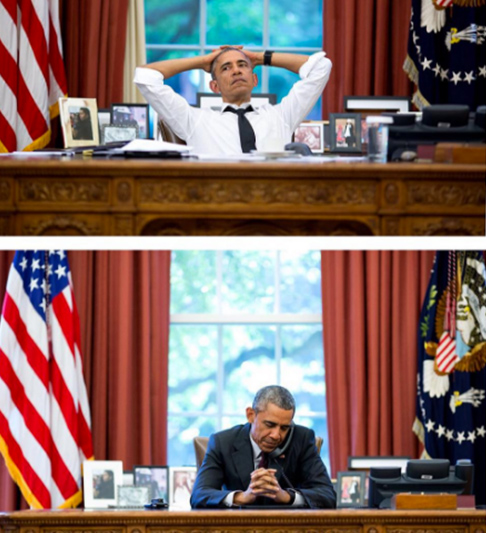 <div class='meta'><div class='origin-logo' data-origin='none'></div><span class='caption-text' data-credit='Pete Souza, Chief Official White House Photographer'>Two images of the president taken at the same angle with the same lens in 2015. The top image shows the president during a meeting, and the bottom during a on his birthday.</span></div>