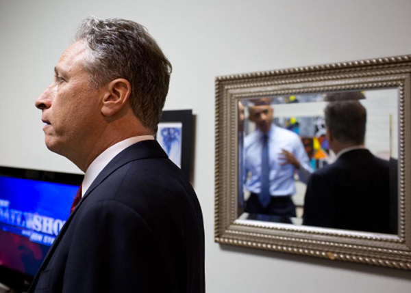 <div class='meta'><div class='origin-logo' data-origin='none'></div><span class='caption-text' data-credit='Pete Souza, Chief Official White House Photographer'>President Obama reflected in a mirror as he speaks with the former host of &#34;The Daily Show,&#34; Jon Stewart in 2015.</span></div>