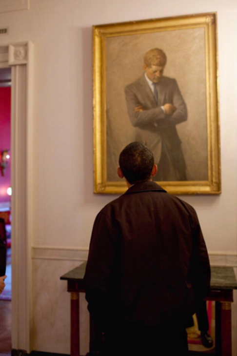 "<div class=""meta image-caption""><div class=""origin-logo origin-image none""><span>none</span></div><span class=""caption-text"">The president looking at a portrait of John F. Kennedy during the Obama family's first weekend in the White House in 2009. (Pete Souza, Chief Official White House Photographer)</span></div>"