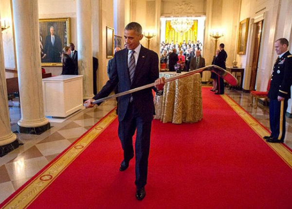 "<div class=""meta image-caption""><div class=""origin-logo origin-image none""><span>none</span></div><span class=""caption-text"">The president holding an engraved hockey stick from the Stanley Cup champion LA Kings at the White House in 2015. (Pete Souza, Chief Official White House Photographer)</span></div>"
