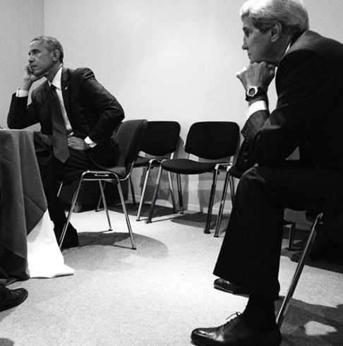 <div class='meta'><div class='origin-logo' data-origin='none'></div><span class='caption-text' data-credit='Pete Souza, Chief Official White House Photographer'>The president looking deep in thought with Secretary of State John Kerry before a NATO Summit in 2014.</span></div>