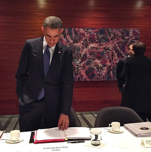 <div class='meta'><div class='origin-logo' data-origin='none'></div><span class='caption-text' data-credit='Pete Souza, Chief Official White House Photographer'>The president preparing for his bilateral meeting with the Australian prime minister in 2014.</span></div>