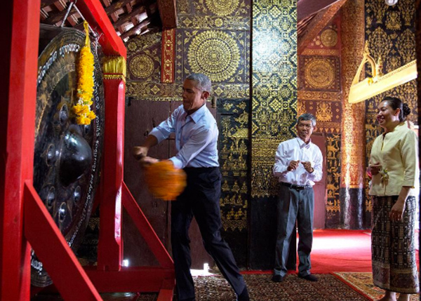 <div class='meta'><div class='origin-logo' data-origin='none'></div><span class='caption-text' data-credit='Pete Souza, Chief Official White House Photographer'>The President banging a gong at a Buddhist temple in Laos in September 2016. Souza noted that the gong was loud.</span></div>