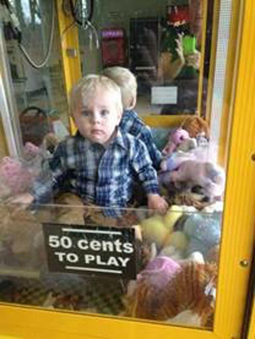 Curious Colin Little Boy Gets Stuck In A Claw Machine