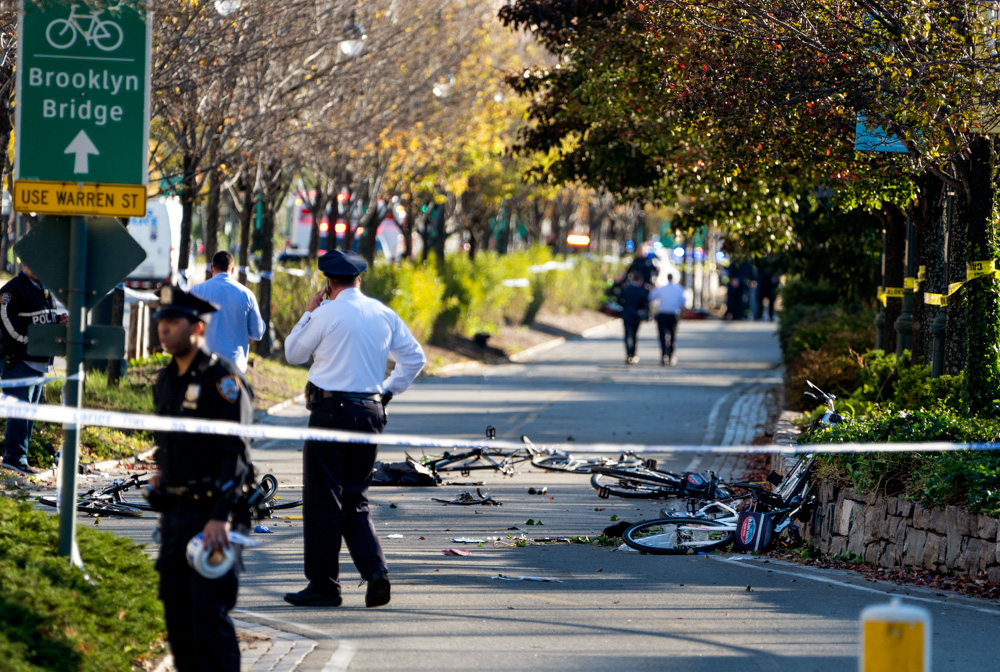 <div class='meta'><div class='origin-logo' data-origin='none'></div><span class='caption-text' data-credit='Craig Ruttle/AP Photo'>Bicycles and debris lay on a bike path after a motorist drove onto the path near the World Trade Center memorial, striking and killing several people Tuesday, Oct. 31, 2017.</span></div>