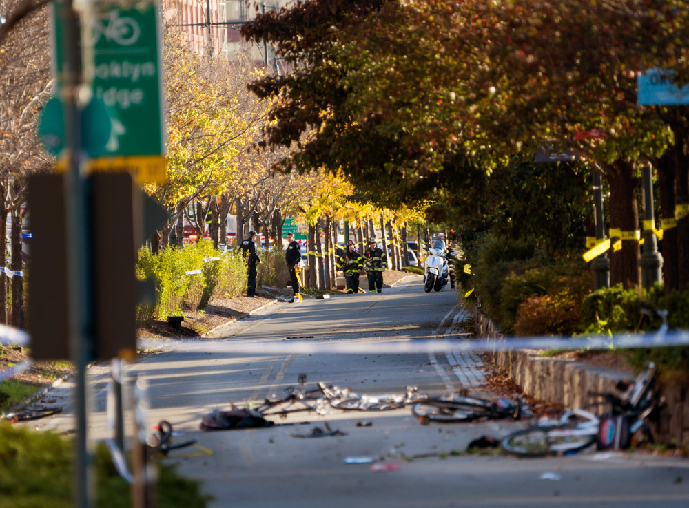 <div class='meta'><div class='origin-logo' data-origin='none'></div><span class='caption-text' data-credit='Craig Ruttle/AP Photo'>Bicycles and debris lies on a bike path after a motorist drove onto the path near the World Trade Center memorial, striking and killing several people Tuesday, Oct. 31, 2017.</span></div>