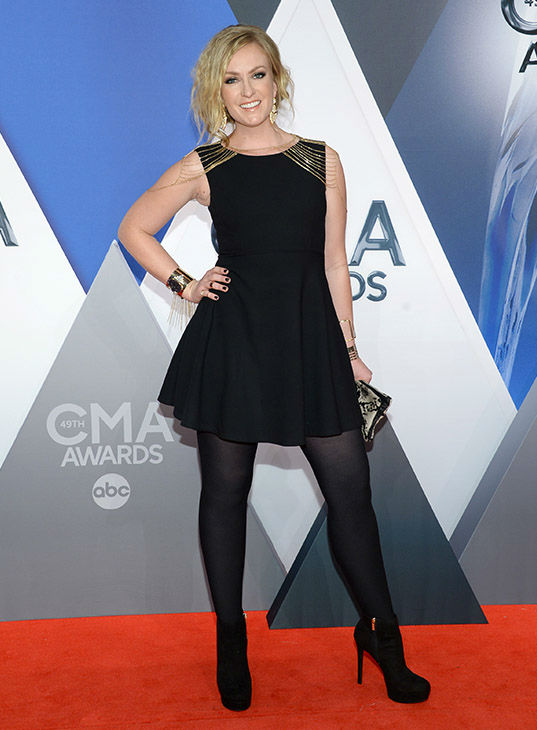 <div class='meta'><div class='origin-logo' data-origin='none'></div><span class='caption-text' data-credit='Evan Agostini/Invision/AP'>Clare Dunn arrives at the 49th annual CMA Awards at the Bridgestone Arena on Wednesday, Nov. 4, 2015, in Nashville, Tenn.</span></div>