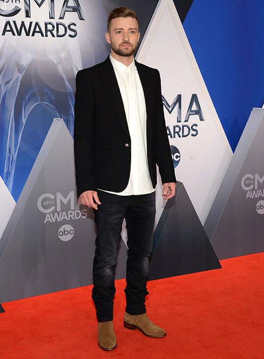 <div class='meta'><div class='origin-logo' data-origin='none'></div><span class='caption-text' data-credit='Evan Agostini/Invision/AP'>Justin Timberlake arrives at the 49th annual CMA Awards at the Bridgestone Arena on Wednesday, Nov. 4, 2015, in Nashville, Tenn.</span></div>