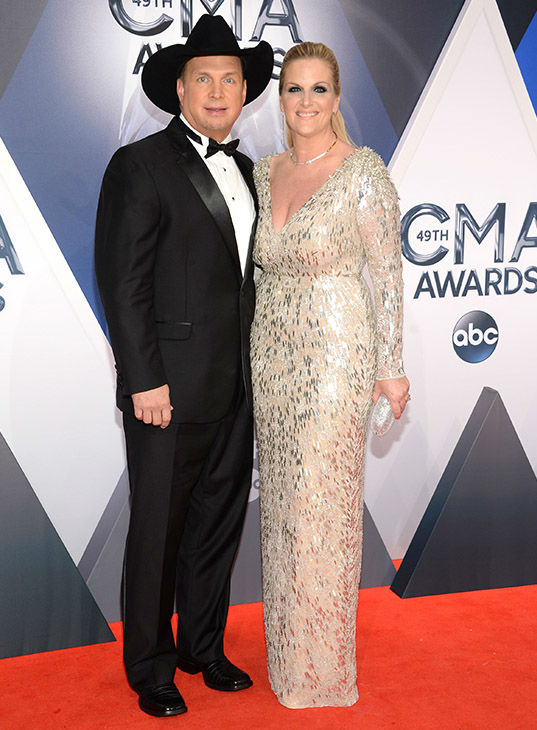 <div class='meta'><div class='origin-logo' data-origin='none'></div><span class='caption-text' data-credit='Evan Agostini/Invision/AP'>Garth Brooks, left, and Trisha Yearwood arrive at the 49th annual CMA Awards at the Bridgestone Arena on Wednesday, Nov. 4, 2015, in Nashville, Tenn.</span></div>