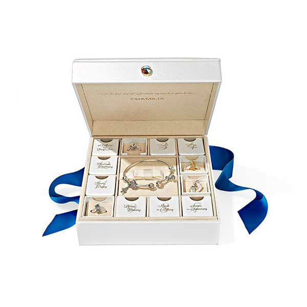 """<div class=""""meta image-caption""""><div class=""""origin-logo origin-image """"><span></span></div><span class=""""caption-text"""">12 Days of Christmas Gift Set, $500 at Chamilia.com.  ''This set of sterling silver bangle and Swarovski crystal-accented charms...is chic, understated.'' -Oprah (Photo/Gregor Halenda)</span></div>"""