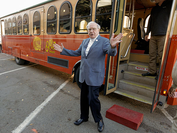 <div class='meta'><div class='origin-logo' data-origin='none'></div><span class='caption-text' data-credit='Nati Harnik/AP Photo'>Billionaire investor Warren Buffett arrives in a trolley he rented to take voters to their polling station, on election day in Omaha, Neb., Tuesday, Nov. 8, 2016.</span></div>