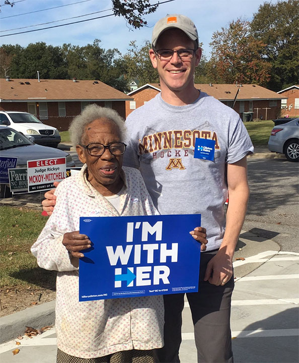 <div class='meta'><div class='origin-logo' data-origin='none'></div><span class='caption-text' data-credit='Kevin McGilly/Twitter'>Kevin McGilly shared on Twitter, ''Life made. I just drove Ms. Ethel Harris, age 100, to vote for the first woman President. #ImWithHer.''</span></div>