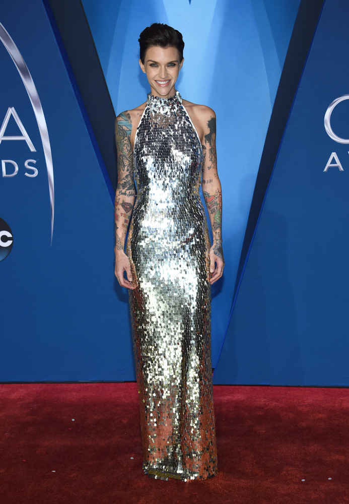 "<div class=""meta image-caption""><div class=""origin-logo origin-image none""><span>none</span></div><span class=""caption-text"">Ruby Rose arrives at the 51st annual CMA Awards on Wednesday, Nov. 8, 2017, in Nashville, Tenn. (Evan Agostini/Invision/AP)</span></div>"